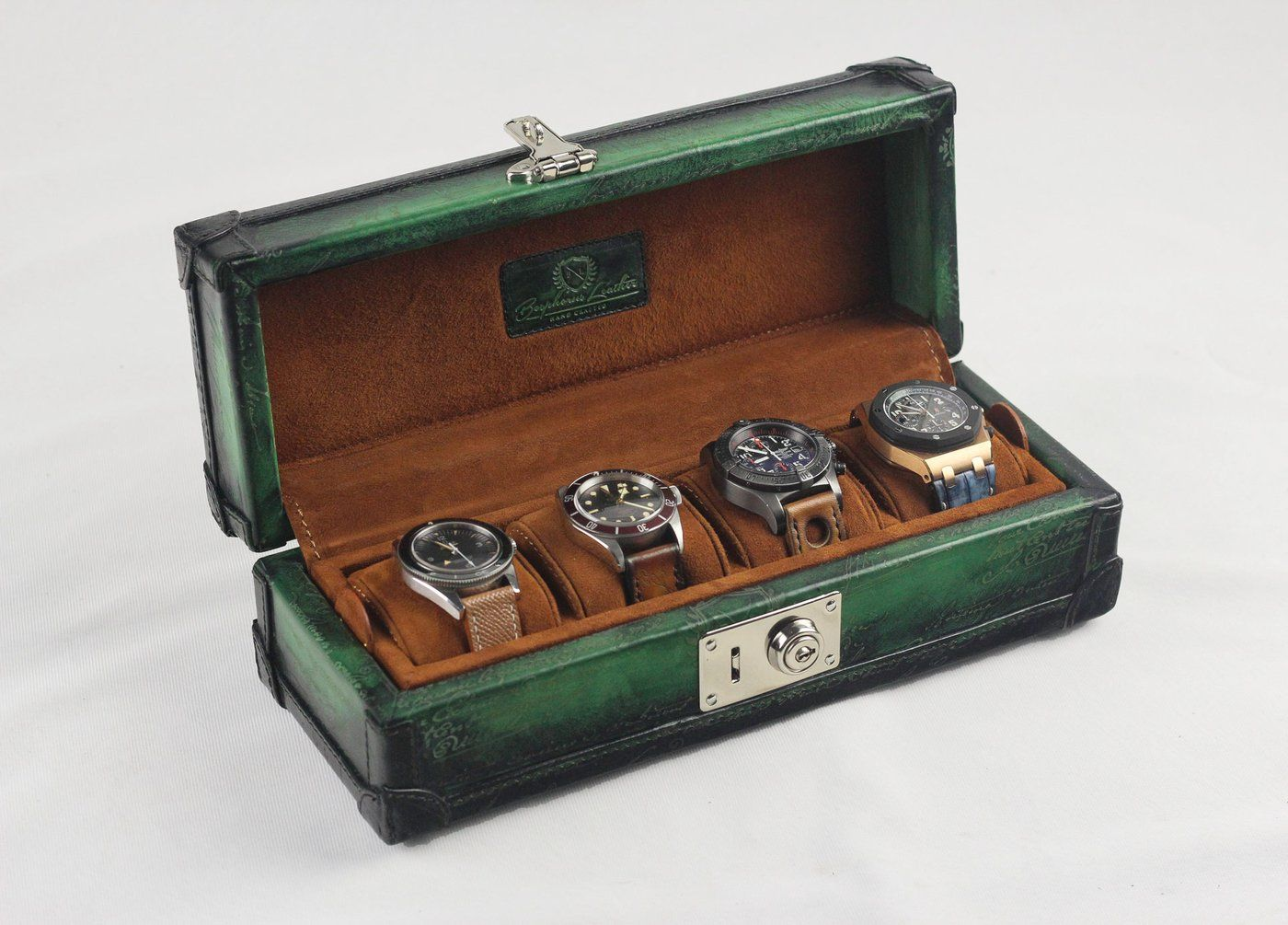 Petra Watch Case for 4 Watches - Scripto Patina Green