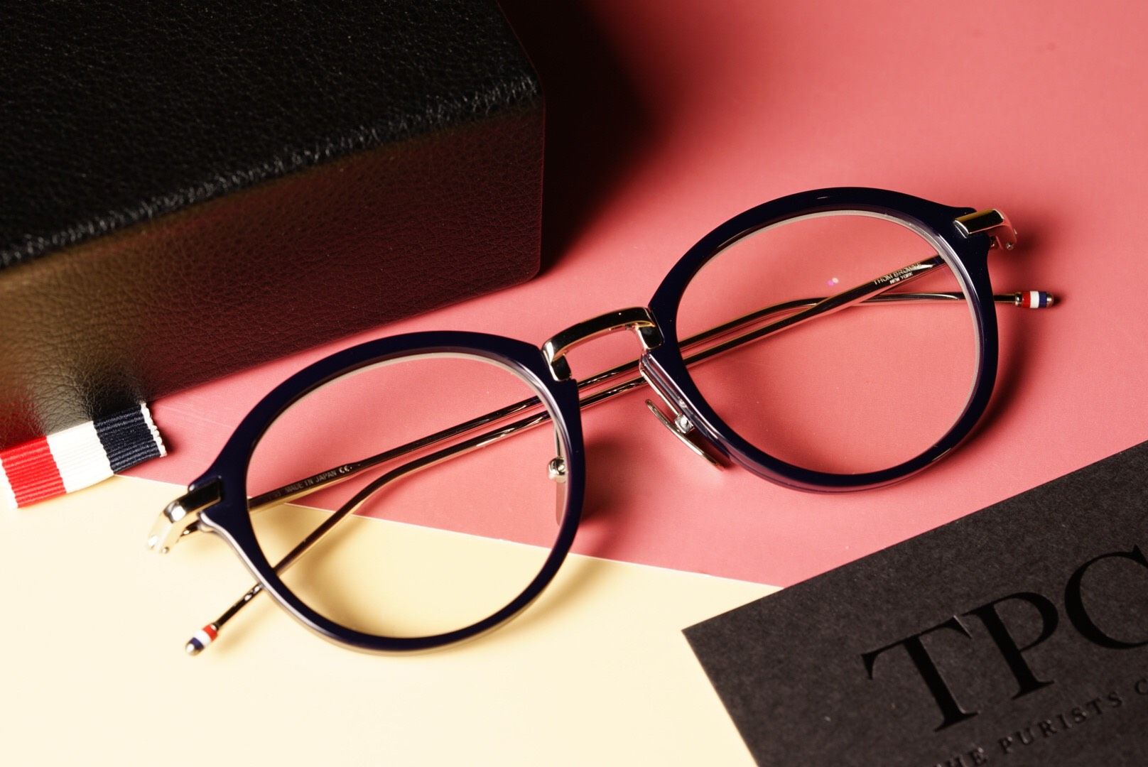 TB011 Silver And Black Round Glasses