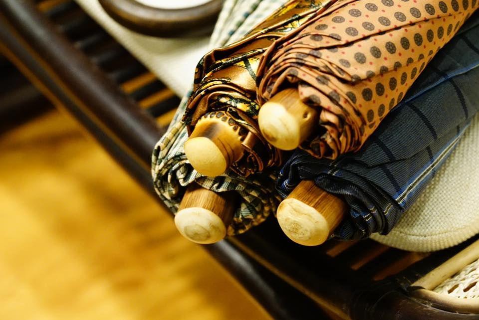 Folding Umbrella with Bamboo Wood handle