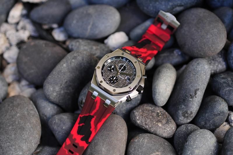 AP Royal Oak Offshare 42mm Tang Buckle Strap - Red Camo Rubber
