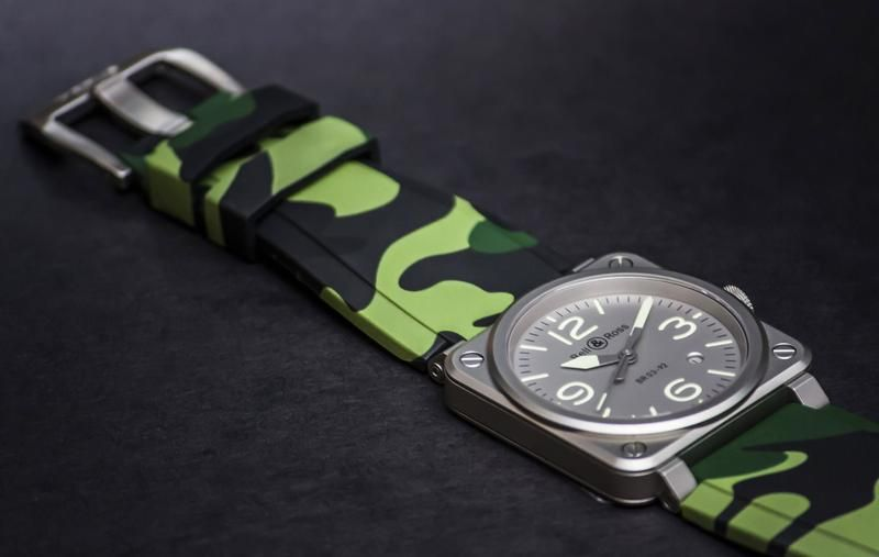 Bell & Ross BR-01 / BR-03 strap - green camo rubber