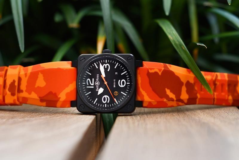 Bell & Ross BR-01 / BR-03 strap - Orange camo rubber