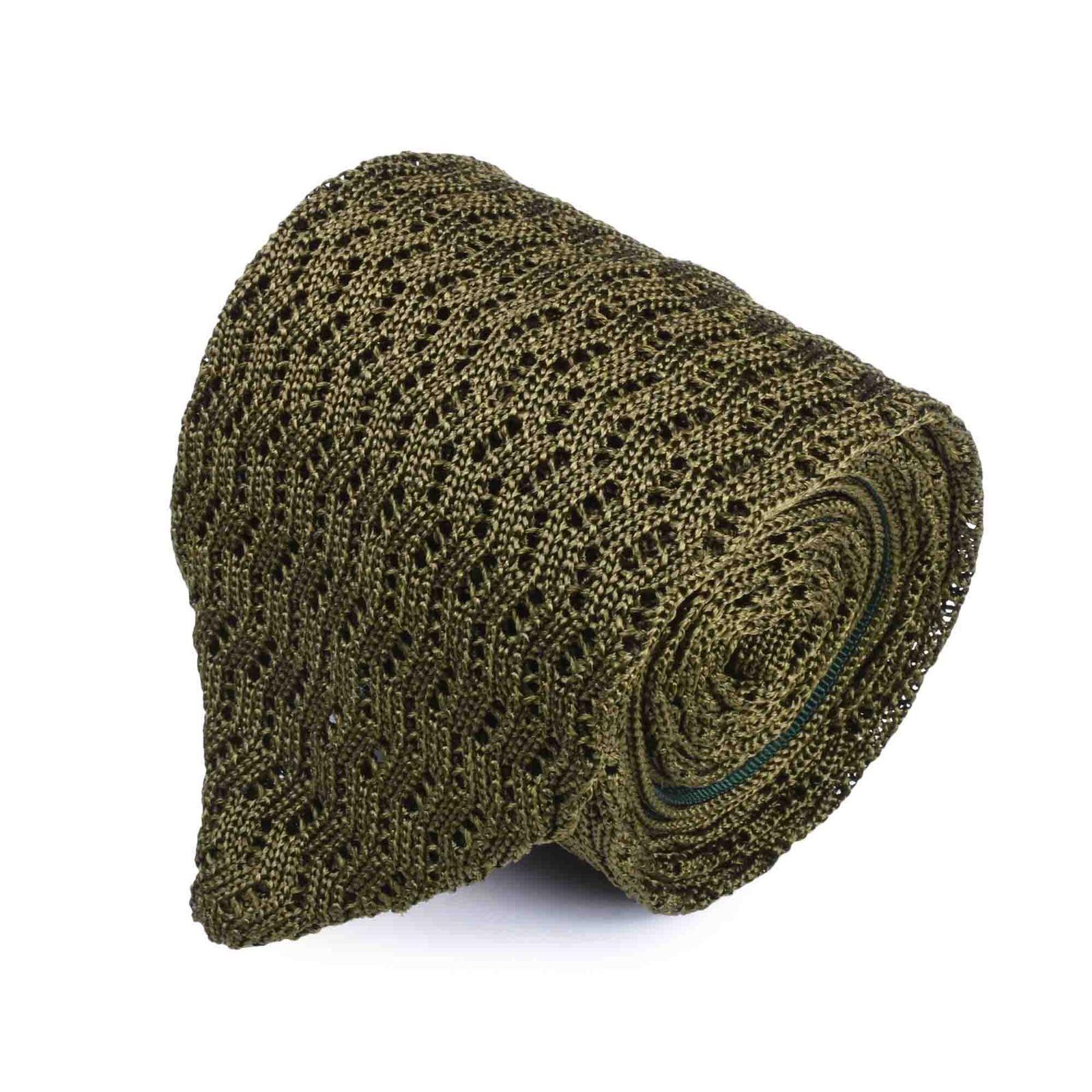 Olive Green Zig Zag V Point Knitted Tie