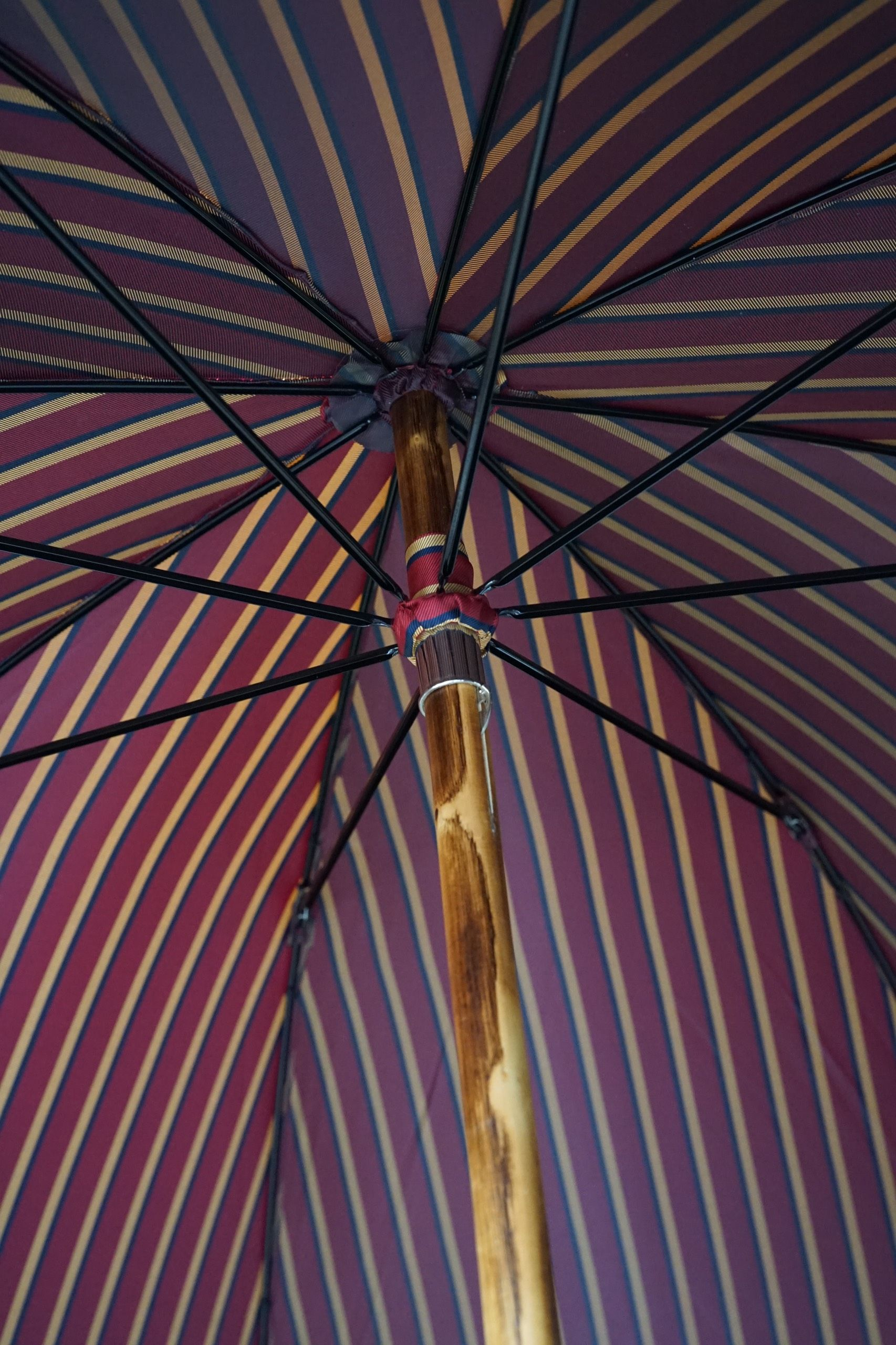 Red Stripe Umbrella with Chestnut Wood handle