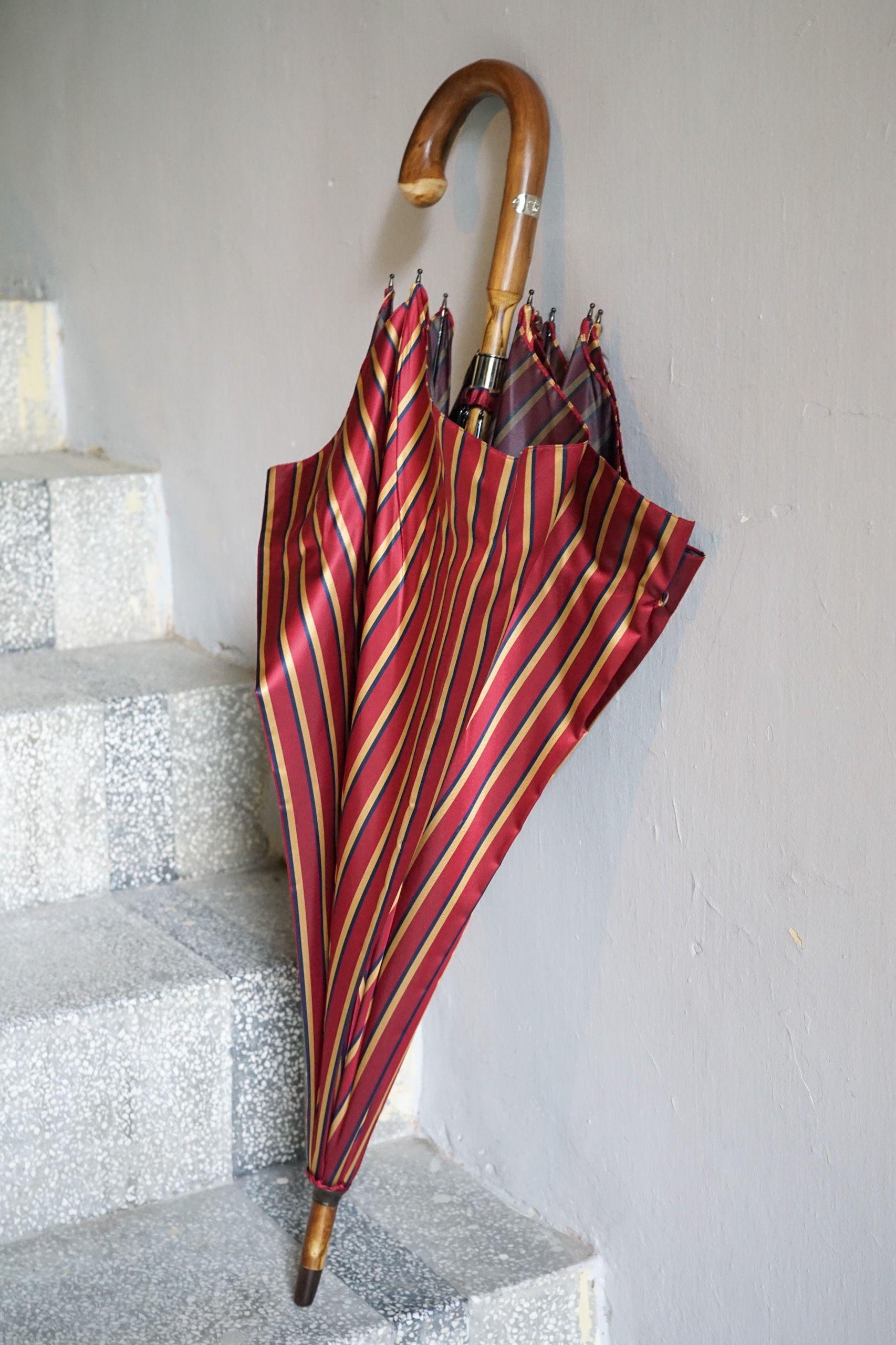 Red Stripe Umbrella with Chestnut Wood handle