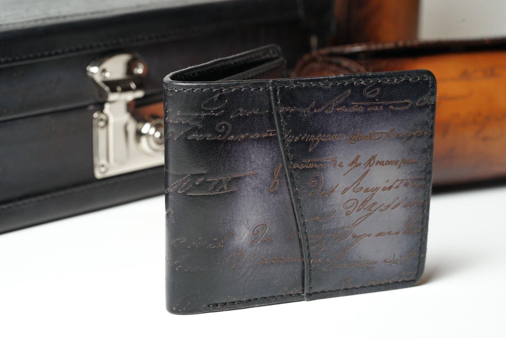 Leather Patina Scripto Grey Wallet