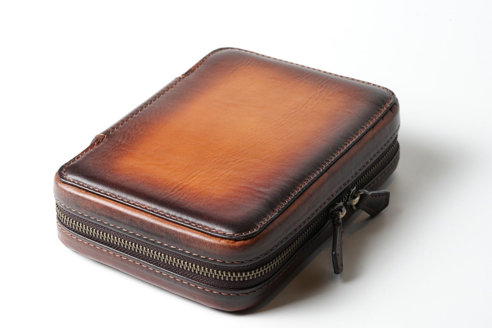 Patina Honey Brown Zipper Watch Case for 4 watches