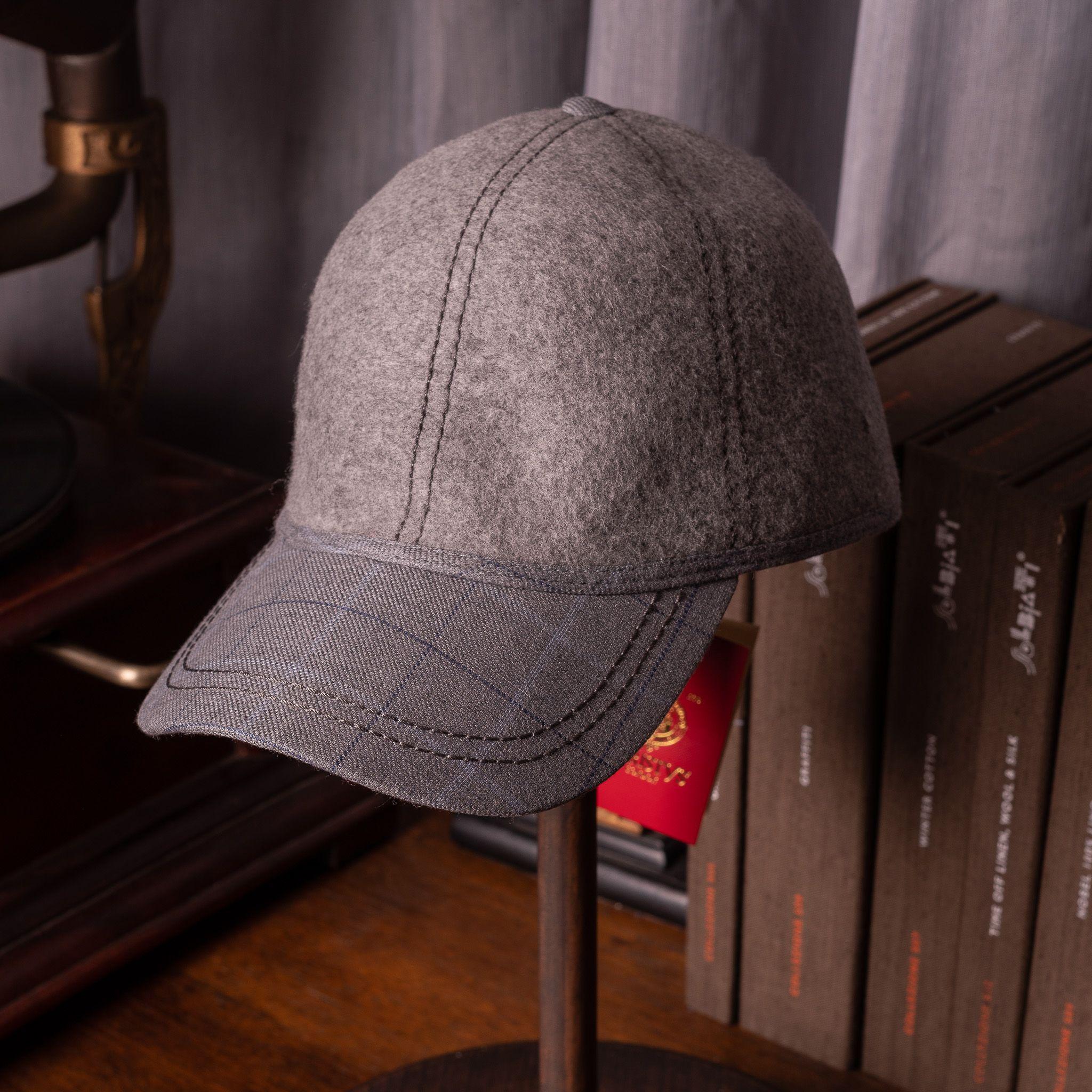 Christy's Baseball cap Grey mix with Grey Raker Check