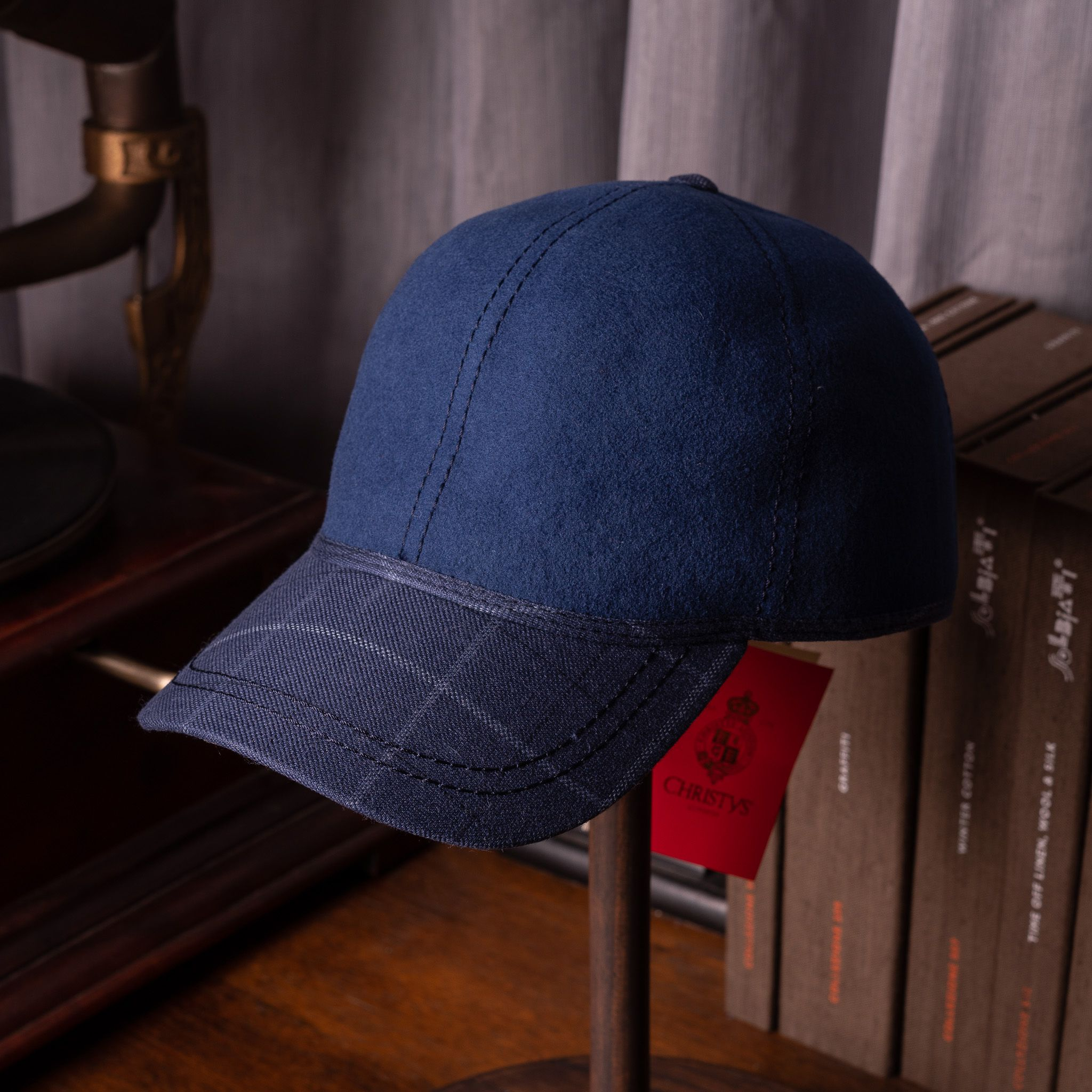 Christy's Baseball cap Navy with Blue Raker Check