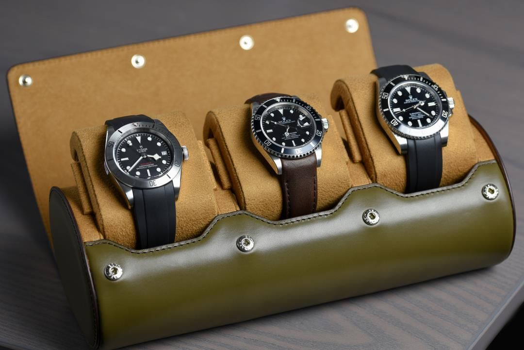 Leather Watch Roll For Three Watches - OLIVE WITH TAN INTERIOR