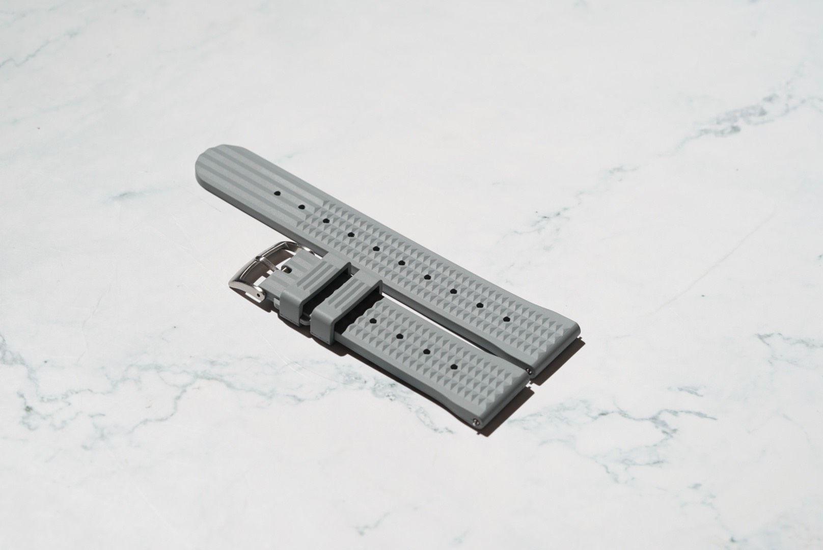 Waffle Style Rubber Watch Strap – Grey