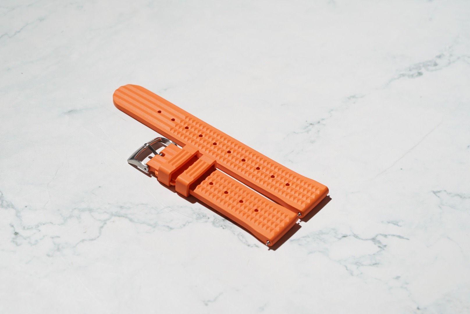 Waffle Style Rubber Watch Strap – Orange
