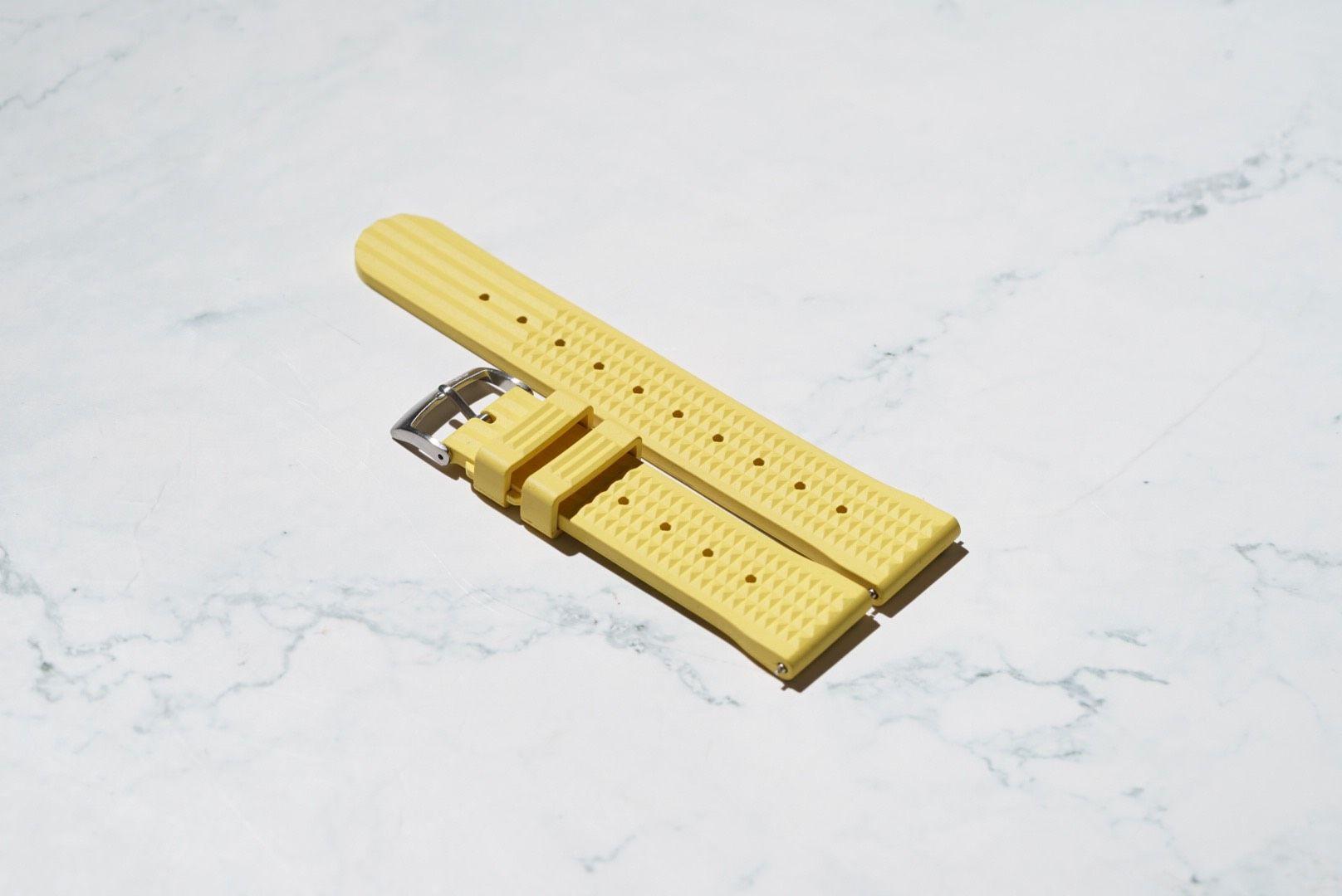 Waffle Style Rubber Watch Strap – Yellow